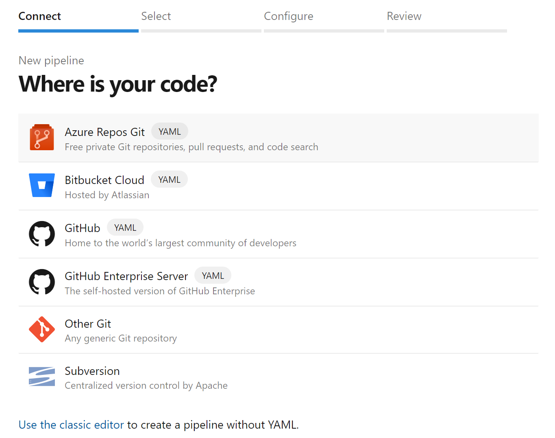 Select Azure Repos Git